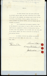 SIMON LAKE - CONTRACT SIGNED 5/1923 CO-SIGNED BY: LAWRENCE W. LUELLEN, JAM BUCKNER