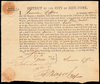 Autographs: JOHN LAMB - DOCUMENT SIGNED 10/27/1795