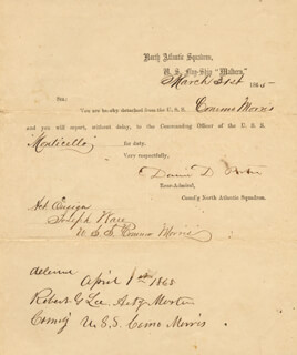 Autographs: ADMIRAL DAVID D. PORTER - DOCUMENT SIGNED 03/31/1865