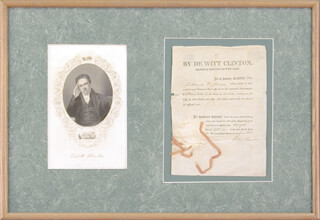 GOVERNOR DEWITT CLINTON - DOCUMENT SIGNED 09/12/1814