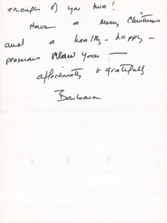 Autographs: FIRST LADY BARBARA BUSH - AUTOGRAPH LETTER SIGNED 12/21/1983