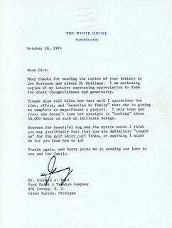 PRESIDENT GERALD R. FORD - TYPED LETTER SIGNED 10/28/1974