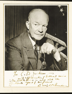 PRESIDENT DWIGHT D. EISENHOWER - INSCRIBED PHOTOGRAPH MOUNT SIGNED