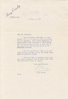 BING CROSBY - TYPED LETTER SIGNED 10/02/1944