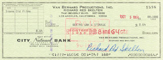 RED SKELTON - AUTOGRAPHED SIGNED CHECK 10/05/1964
