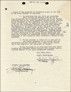 Autographs: BUSBY BERKELEY - CONTRACT SIGNED 12/28/1938