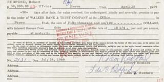 ROBERT REDFORD - PROMISSORY NOTE SIGNED 07/24/1969 CO-SIGNED BY: LOLA REDFORD