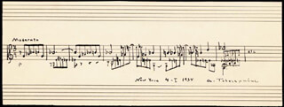 ALEXANDER TCHEREPNIN - AUTOGRAPH MUSICAL QUOTATION SIGNED 04/01/1934