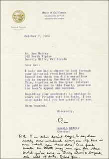PRESIDENT RONALD REAGAN - TYPED LETTER SIGNED 10/07/1969