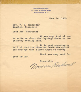 NORMAN ROCKWELL - TYPED LETTER SIGNED 06/24/1933