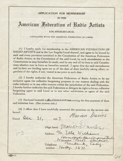 MARION DAVIES - APPLICATION SIGNED 12/31/1937