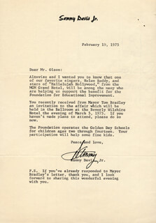 SAMMY DAVIS JR. - TYPED LETTER SIGNED 02/19/1975