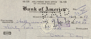 DORIS DAY - AUTOGRAPHED SIGNED CHECK 07/13/1947