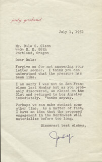 JUDY GARLAND - TYPED LETTER SIGNED 07/01/1952  - HFSID 254842