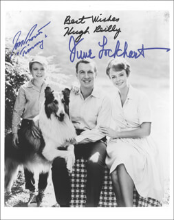 LASSIE TV CAST - AUTOGRAPHED SIGNED PHOTOGRAPH CO-SIGNED BY: JON PROVOST, JUNE LOCKHART, HUGH REILLY - HFSID 254851