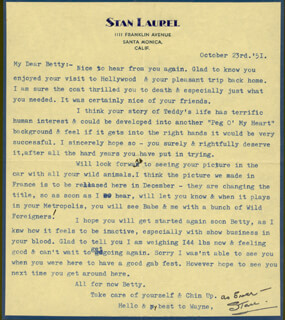 LAUREL & HARDY (STAN LAUREL) - TYPED LETTER SIGNED 10/23/1951