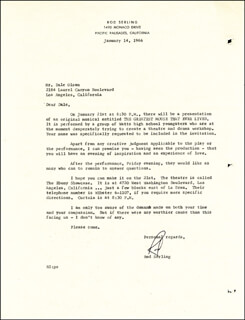 ROD MR. TWILIGHT ZONE SERLING - TYPED LETTER SIGNED 01/14/1966