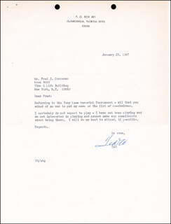 TED WILLIAMS - TYPED LETTER SIGNED 01/23/1967