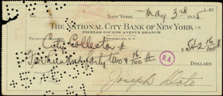JOEY A. (GIUSEPPE ANTONIO DOTO) ADONIS - AUTOGRAPHED SIGNED CHECK 05/03/1935  - HFSID 254872