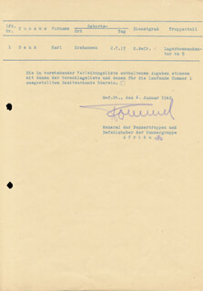GENERAL ERWIN THE DESERT FOX ROMMEL - DOCUMENT SIGNED 01/06/1942
