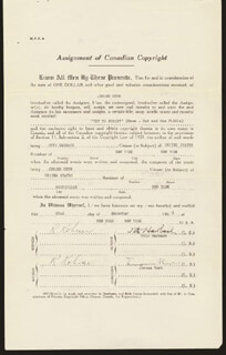 JEROME KERN - DOCUMENT SIGNED 12/22/1931 CO-SIGNED BY: OTTO A. HARBACH