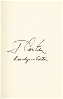 Autographs: PRESIDENT JAMES E. JIMMY CARTER - BOOK SIGNED CIRCA 1987 CO-SIGNED BY: FIRST LADY ROSALYNN CARTER