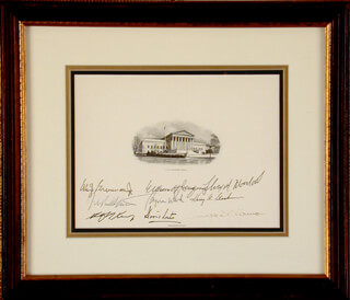 CHIEF JUSTICE WILLIAM H. REHNQUIST - SUPREME COURT ENGRAVING SIGNED CO-SIGNED BY: ASSOCIATE JUSTICE BYRON R. WHITE, ASSOCIATE JUSTICE ANTHONY M. KENNEDY, ASSOCIATE JUSTICE DAVID H. SOUTER, ASSOCIATE JUSTICE SANDRA DAY O'CONNOR, ASSOCIATE JUSTICE WILLIAM J. BRENNAN JR., ASSOCIATE JUSTICE THURGOOD MARSHALL, ASSOCIATE JUSTICE HARRY A. BLACKMUN, ASSOCIATE JUSTICE JOHN PAUL STEVENS