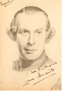 SIR CEDRIC HARDWICKE - INSCRIBED ORIGINAL ART SIGNED CIRCA 1936 CO-SIGNED BY: R. A. SARGINSTON
