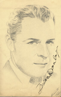 BRIAN DONLEVY - ORIGINAL ART SIGNED CIRCA 1937 CO-SIGNED BY: R. A. SWAINSTON
