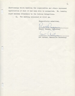 PRESIDENT RONALD REAGAN - DOCUMENT SIGNED 07/16/1952