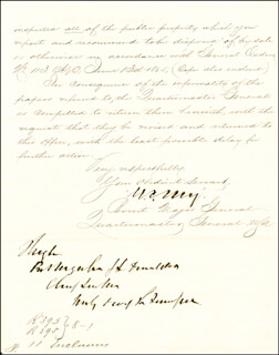 MAJOR GENERAL MONTGOMERY C. MEIGS - MANUSCRIPT LETTER SIGNED 12/30/1865