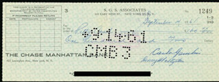 CARLO DON CARLO GAMBINO - AUTOGRAPHED SIGNED CHECK 09/14/1961 CO-SIGNED BY: HENRY SALTZSTEIN, GEORGE SCHILLER