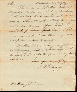 Autographs: GENERAL TIMOTHY PICKERING - AUTOGRAPH LETTER SIGNED 08/29/1792