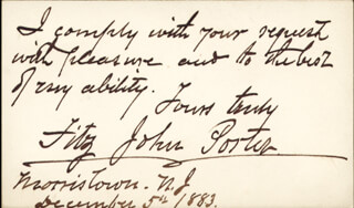 Autographs: MAJOR GENERAL FITZ JOHN PORTER - AUTOGRAPH NOTE ON CALLING CARD SIGNED 12/05/1883