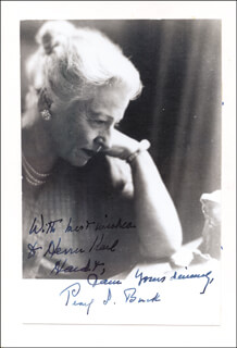 PEARL S. BUCK - AUTOGRAPHED INSCRIBED PHOTOGRAPH