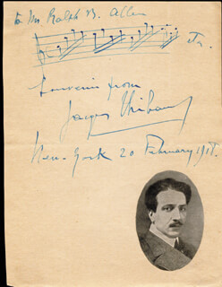 Autographs: JACQUES THIBAUD - AUTOGRAPH MUSICAL QUOTATION SIGNED 02/20/1918