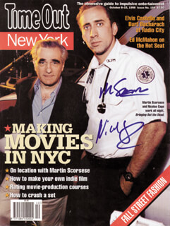 BRINGING OUT THE DEAD MOVIE CAST - MAGAZINE COVER SIGNED CO-SIGNED BY: MARTIN SCORSESE, NICOLAS CAGE