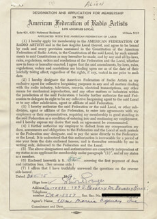 STEWART GRANGER - APPLICATION SIGNED 12/15/1950
