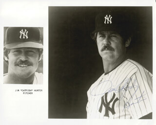 JIM CATFISH HUNTER - PRINTED PHOTOGRAPH SIGNED IN INK