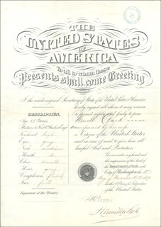 HAMILTON FISH - DOCUMENT SIGNED 11/01/1871