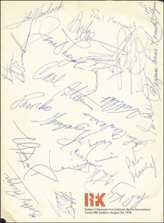 JOHN F. KENNEDY JR. - PROGRAM SIGNED CIRCA 1974 CO-SIGNED BY: BOBBY RIGGS, DUSTIN HOFFMAN, WALTER CRONKITE, RAMSEY CLARK, EDWARD TED KENNEDY, MAYOR CARL B. STOKES, PANCHO GONZALEZ, LOLA FALANA, JOHN HAVLICEK, JANET LEIGH, ANDY WILLIAMS, ETHEL KENNEDY, DAVE DE BUSSCHERE
