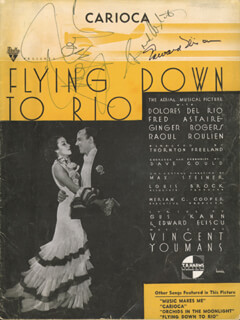 FLYING DOWN TO RIO MOVIE CAST - SHEET MUSIC SIGNED CO-SIGNED BY: FRED ASTAIRE, GINGER ROGERS, EDWARD ELISCU