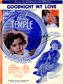 Autographs: STOWAWAY MOVIE CAST - INSCRIBED SHEET MUSIC SIGNED 1997 CO-SIGNED BY: SHIRLEY TEMPLE, ALICE FAYE