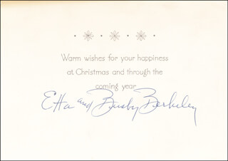 Autographs: BUSBY BERKELEY - CHRISTMAS / HOLIDAY CARD SIGNED