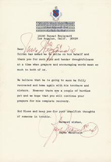 JAYNE MANSFIELD - TYPED LETTER SIGNED