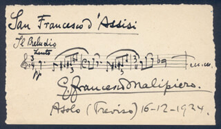 GIAN F. MALIPIERO - AUTOGRAPH MUSICAL QUOTATION SIGNED 12/16/1924