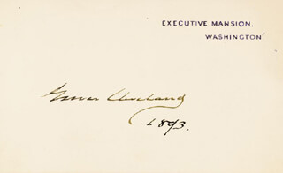 PRESIDENT GROVER CLEVELAND - WHITE HOUSE CARD SIGNED 1893
