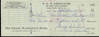 CARLO DON CARLO GAMBINO - AUTOGRAPHED SIGNED CHECK 09/25/1957 CO-SIGNED BY: GEORGE SCHILLER