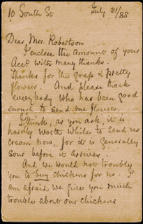 FLORENCE NIGHTINGALE - AUTOGRAPH LETTER SIGNED 07/21/1888