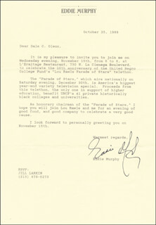 EDDIE MURPHY - TYPED LETTER SIGNED 10/25/1989